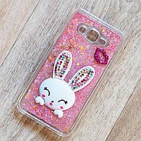 Чехол аквариум Rabbit с блестками и подставкой для Samsung Galaxy J7 2015 (j700) (розовые блестки)