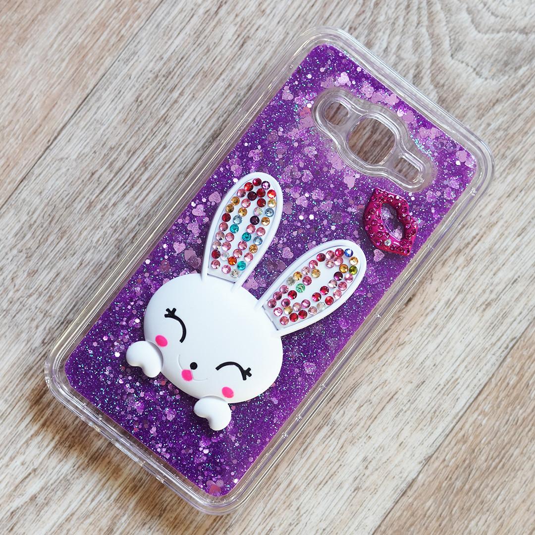 Чехол аквариум Rabbit с блестками и подставкой для Samsung Galaxy J7 Neo (j701) (фиолетовые блестки)