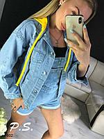 Модная женская джинсовая куртка с капюшоном, фото 1