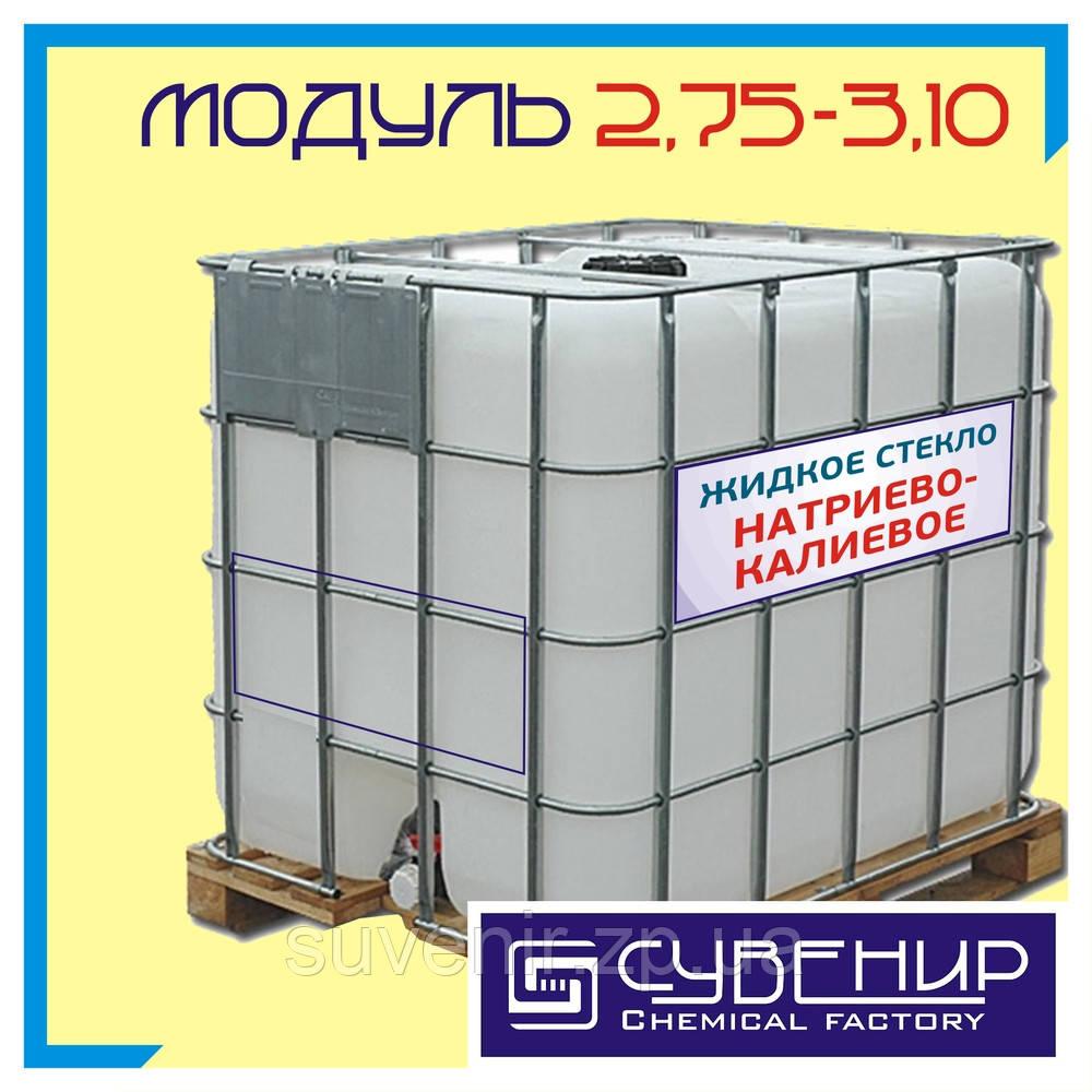 Натриево-калиевое жидкое стекло: плотность 1,40, силикатный модуль 2,75÷3,10