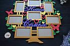 Цветная, яркая фоторамка в виде дерева, Наша семья, фоторамка коллаж ручной работы на 8 фото, фото 3