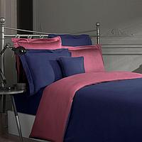 Постельный комплект евро 200 TC SATIN SAREV однотонный двухцветный Евро 200*220, Синий-Бордо