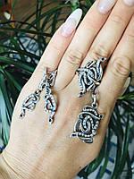 Набор Анаконда женский серебряный кольцо,серьги ,подвеска.
