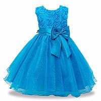 Детское нарядное платье с розочками и блестками Голубое на рост 74-80, 98-122см