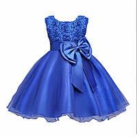 Детское нарядное платье с розочками и блестками Синее