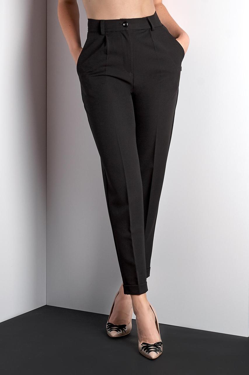Классические черные укороченные брюки (Код BR-411 черный)