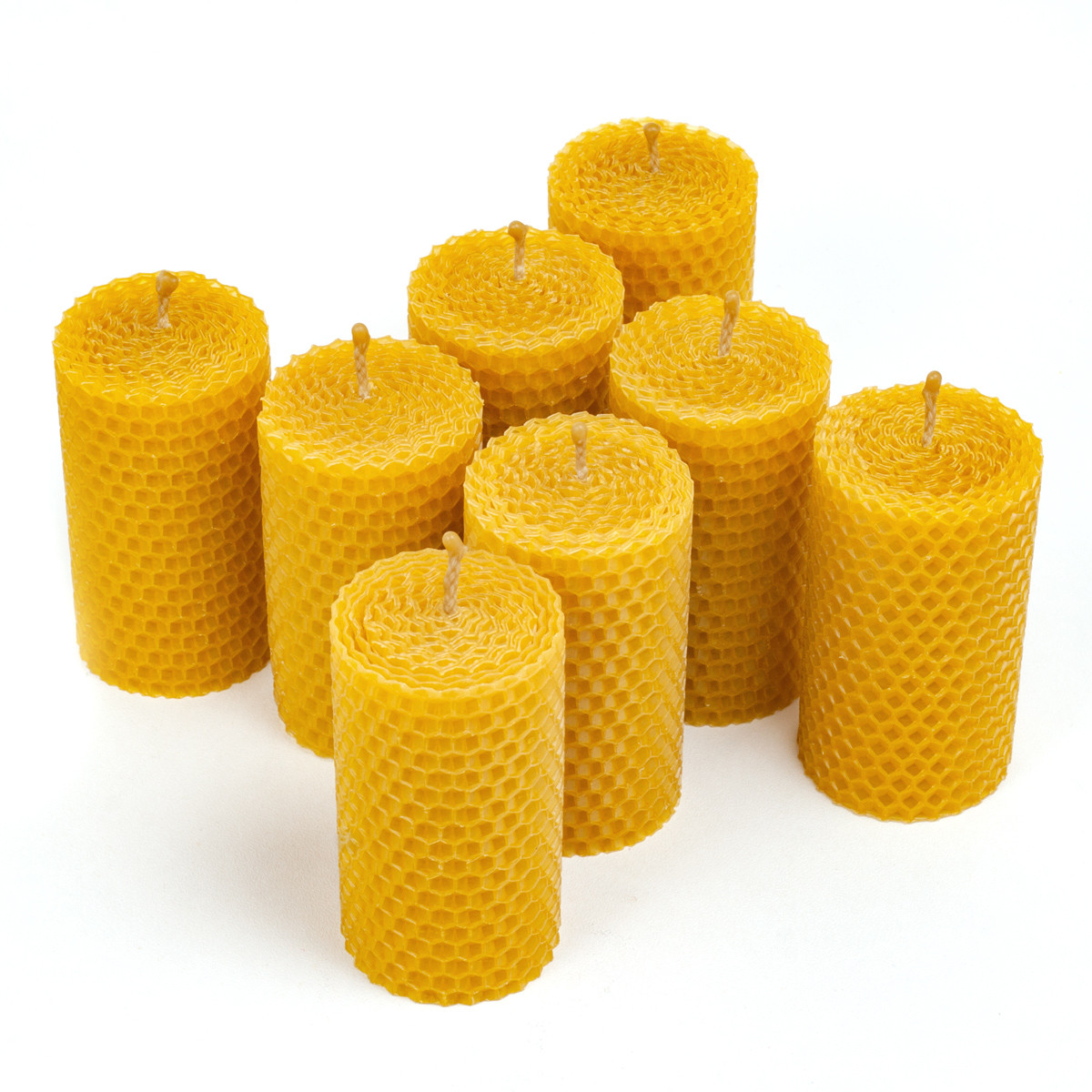 Набір cвічок з натурального бджолиного воску 8 шт круглої форми 8.5×4.5 см