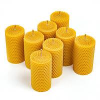 Набір cвічок з натурального бджолиного воску 8 шт круглої форми 8.5×4.5 см, фото 1