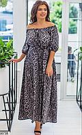 Летнее платье-макси принт леопард серый большого размера  размер универсальный 48-54