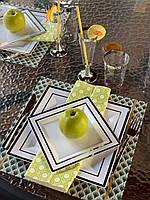 Тарелка стеклоподобная белая с серебром оптом  для ресторанов, кенди бара, кейтеринга, horeca CFP 6 шт 190 мм, фото 1
