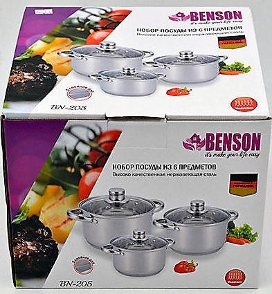 Набор посуды Benson BN-205, 3 кастрюли с крышкой 3.9; 2.9; 2.1 литра