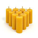 Набір 3 10 свічок з бджолиного воску 8,5*3,5 см, фото 2
