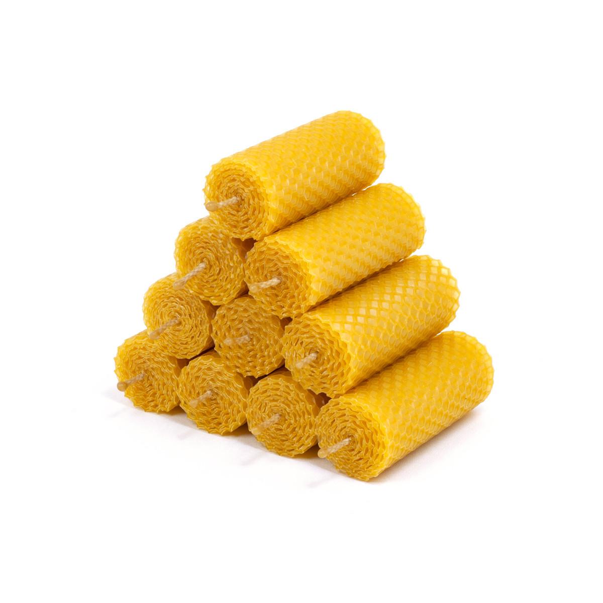 Набір 3 10 свічок з бджолиного воску 8,5*3,5 см