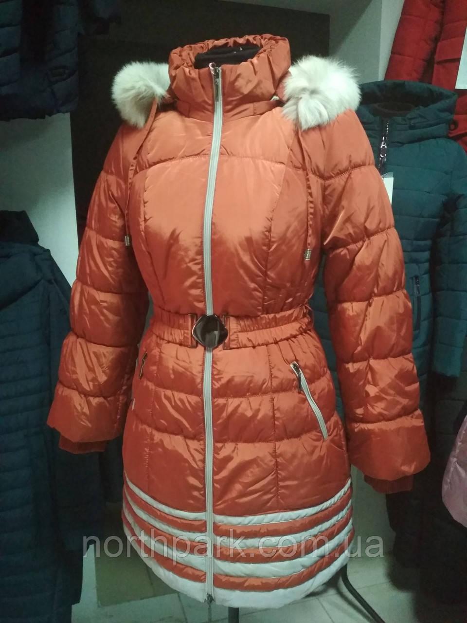 Зимняя длинная куртка с белым мехом, терракотовый