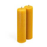 Набір з двох свічок з бджолиного воску 17.5×4.5 см, набір натуральних свічок, фото 2