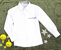 Рубашка  школьная белая+серый  на мальчика, р. 7-10 лет,