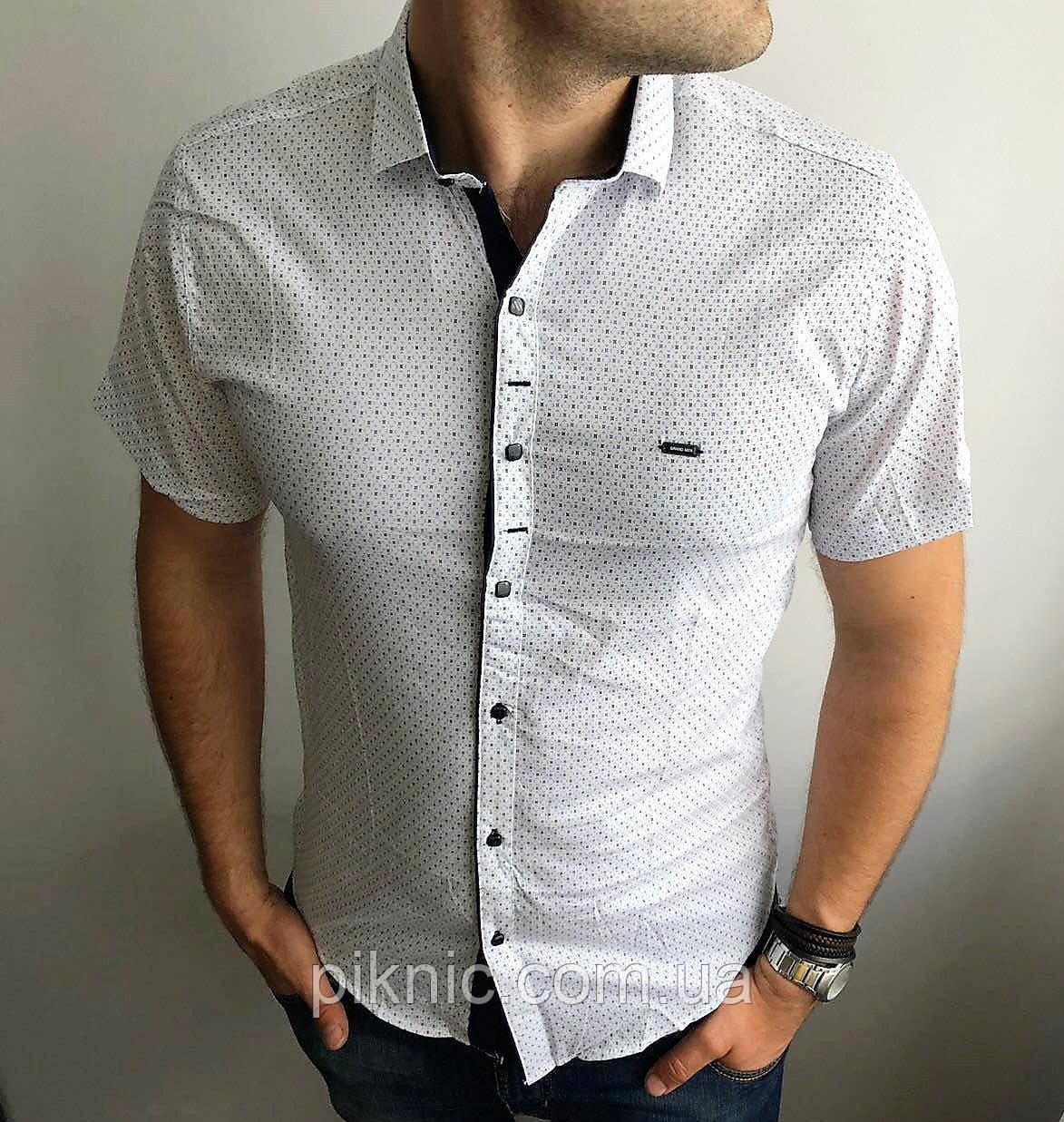 Рубашка мужская М, XXL приталенная, короткий рукав, слим фит Турция. Молодежная турецкая Белый