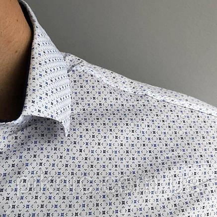 Рубашка мужская М, XXL приталенная, короткий рукав, слим фит Турция. Молодежная турецкая Белый, фото 2