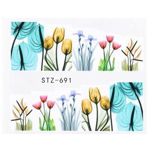 KATTi Наклейки водные STZ 691 акварель цветные принт цветы
