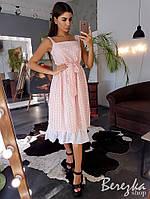 Платье женское свободное красивое прошва с оборкой и поясом миди Sms3631