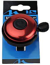 Звонок велосипедный M-Wave алюминиевый красный (A-DKL-0052)