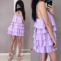 Платье женское красивое стильное с оборками мини разные цвета Smmk3633