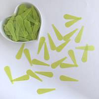 Пайетки Длинные капли 10*33 мм. Цвет: матовый салатовый. Упаковка 20 шт