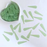 Пайетки Длинные капли 10*33 мм. Цвет: матовый зеленый. Упаковка 20 шт