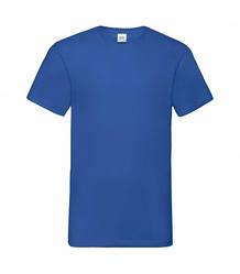 Мужская футболка с v-образным вырезом синяя 066-51
