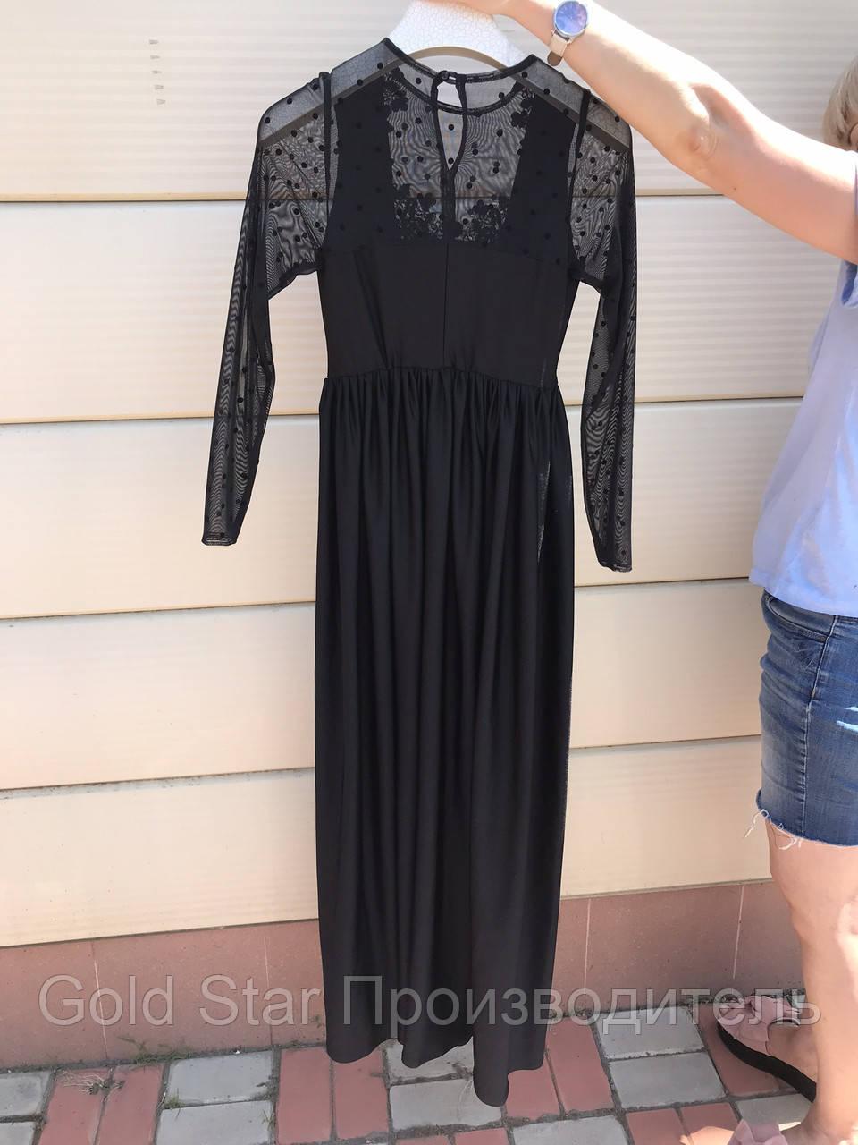 Черное платье с сеткой, фото 1