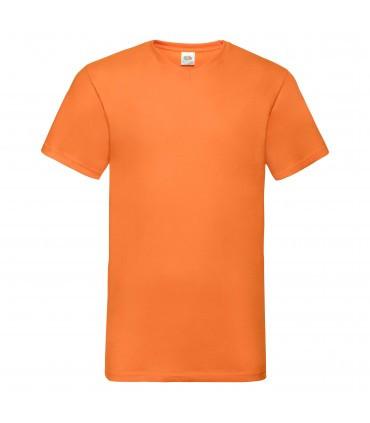 Мужская футболка с v-образным вырезом оранжевая 066-44
