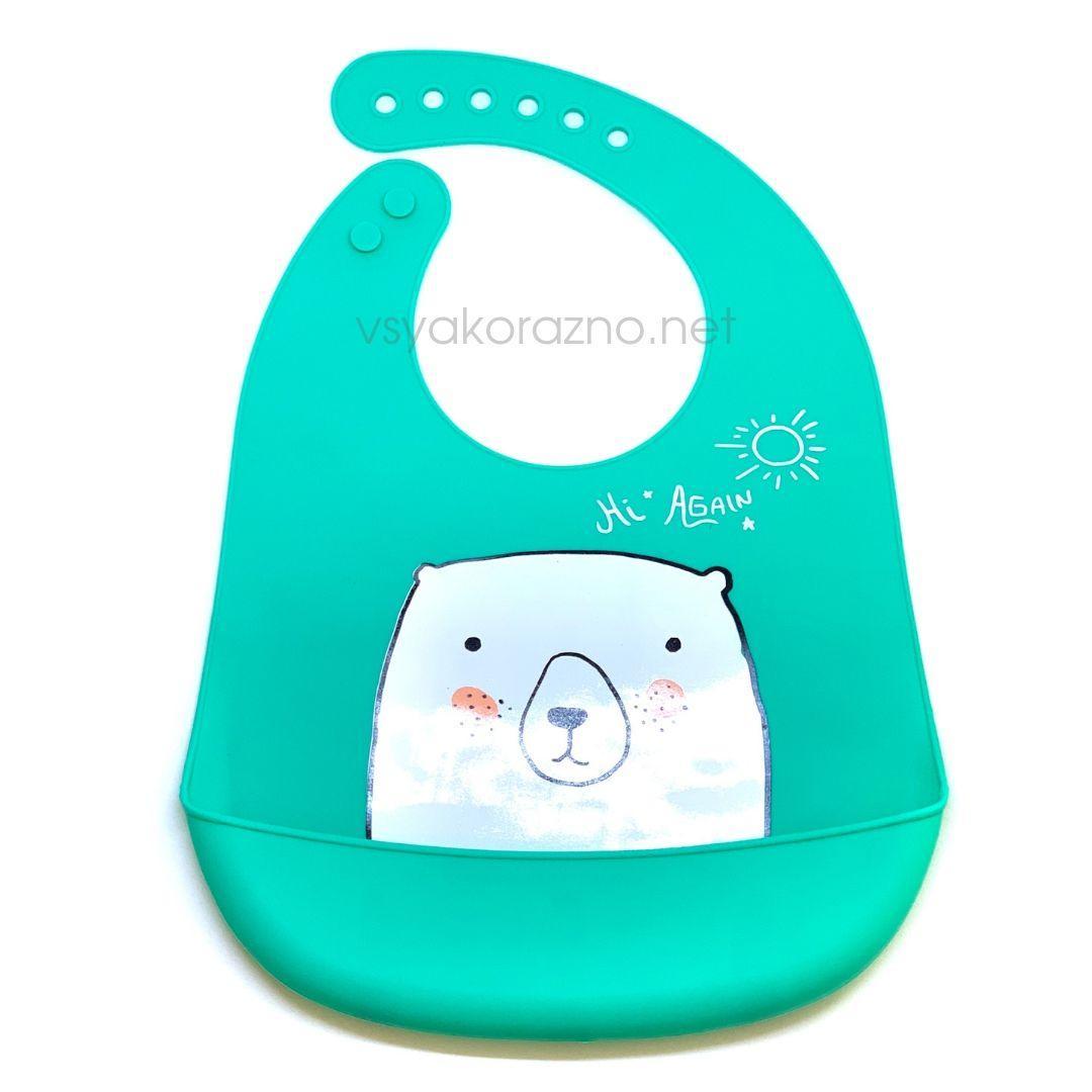 Детский слюнявчик нагрудник силиконовый с карманом (мишка зеленый)