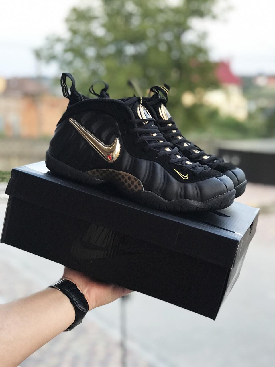 Мужские кроссовки Nike Air Foamposite Pro,черные с золотым 46р