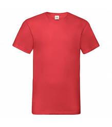 Мужская футболка с v-образным вырезом красная 066-40