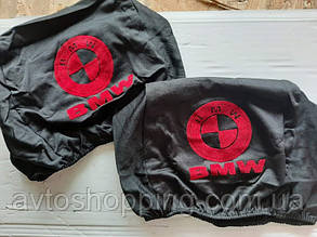 Чехлы на подголовник BMW Бмв черные с красным 2 шт