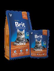 Корм Brit Premium Cat Indoor для взрослых котов живущих в помещении с курицей