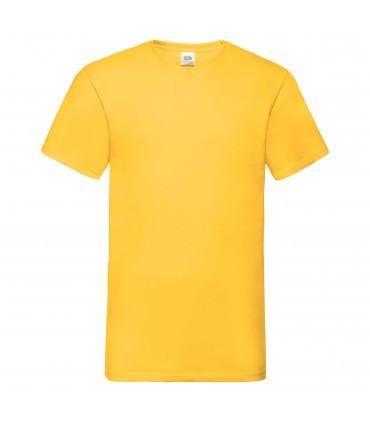 Мужская футболка с v-образным вырезом желтая 066-34