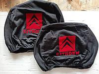 Чехлы на подголовник Citroen Ситроен черные с красным 2 шт