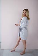 Сатиновый халат, серый s, фото 1