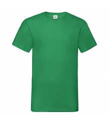 Мужская футболка с v-образным вырезом зеленая 066-47