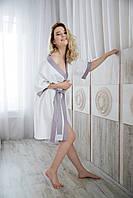Халат сатиновый, женский, белый xl, фото 1