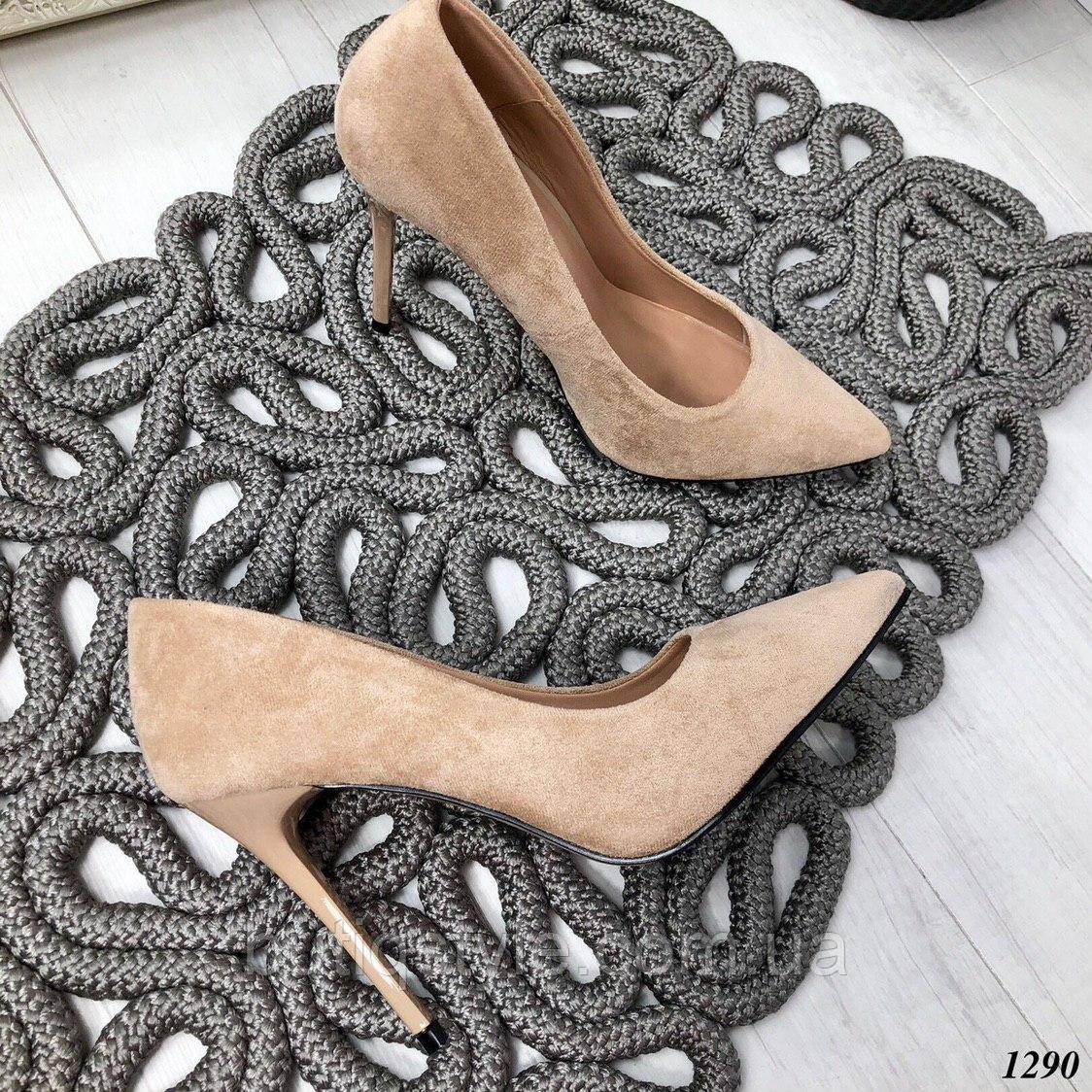 Женские бежевые туфли на шпильке эко-замша