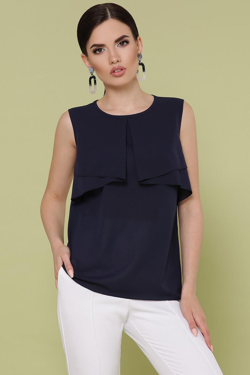 Жіноча блузка літня, синя, креп-шифон, стильна, повсякденне, святкове, вільна