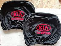 Чохли на підголівник Кіа Kia чорні з червоним 2 шт