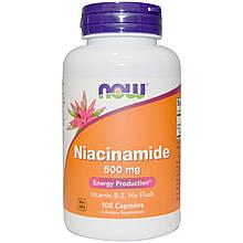 """Ниацинамид NOW Foods """"Niacinamide"""" водорастворимый витамин B3, 500 мг (100 таблеток)"""