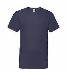 Мужская футболка с v-образным вырезом темно-синяя 066-AZ