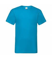 Мужская футболка с v-образным вырезом бирюзовая 066-ЗУ