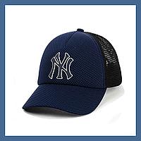 Кепка с сеткой и резиновым патчем New York синий