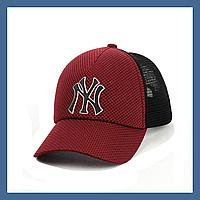 Кепка с сеткой и резиновым патчем New York бордо