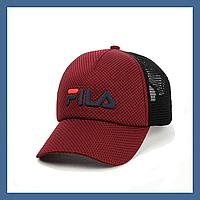 Кепка- бейсболка и резиновым патчем FILA бордо